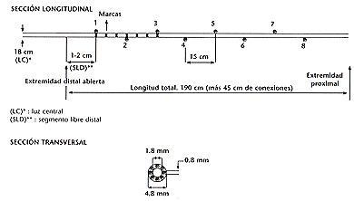 Sistema de la sonda empleada en la manometría de regiones colónicas prosimales